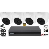 Kit complet supraveghere video Dahua 4camere FullHD, IR 20M