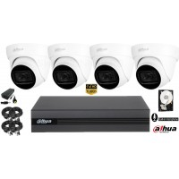 Kit complet supraveghere video Dahua 4camere FullHD, IR 30M, microfon incorporat