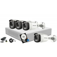 Kit complet supraveghere video Hikvision 4 camere ColorVU FullHD, IR 20M, HDD 1 TB
