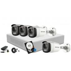 Kit supraveghere video Hikvision 4 camere ColorVU - filmeaza color pe timp de noapte, HDD 1TB inclus