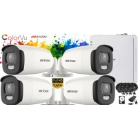 Kit complet supraveghere video Hikvision 4 camere ColorVU FullHD, IR 40M, HDD 1 TB