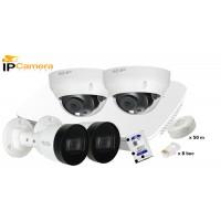 Kit supraveghere video IP DAHUA 4 camere 4 MPX, IR 30, HDD 2 TB