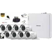 Kit complet supraveghere Hikvision 8 camere 1080p FullHD, IR 20m