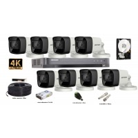 Kit complet supraveghere video 8 camere  Hikvision 8 MP (4K), IR 30M, HDD 2 TB