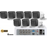 Sistem supraveghere Hikvision 8camere FullHD 1080p, IR30m, microfon incorporat
