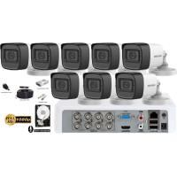 Kit complet supraveghere Hikvision 8camere FullHD 1080p, IR30m, microfon incorporat