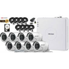 Kit complet  supraveghere video Hikvision 8 camere 720P, IR 20M, HDD 1TB
