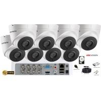 Kit complet supraveghere Hikvision 8 camere de interior Ultra Low-Light 2MP Full HD 1080p, IR 60m