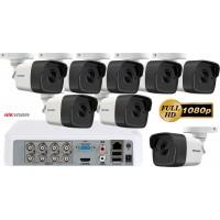 Sistem supraveghere video Hikvision 8 camere 2MP FullHD Ultra Low-Light, IR 80M