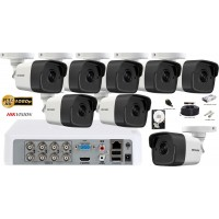 Kit complet supraveghere video Hikvision 8 camere 2MP FullHD Ultra Low-Light, IR 80M