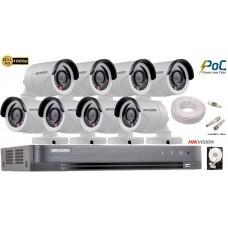 Kit complet supraveghere Hikvision 8 camere de exterior POC,TurboHD 2MP Full HD 1080p,IR 20m