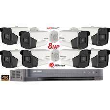 Sistem supraveghere Hikvision 8 camere de exterior, Zoom motorizat, Lentila varifocala 8MP(4K), IR 80M