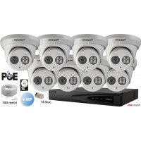 Kit complet supraveghere video IP 8 camere dome Hikvision 4MP, IR 30M, microfon incorporat,SD-card