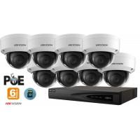 Sistem supraveghere video IP Hikvision 8 camere de interior 6MP(3K),SD-card,IR 30m