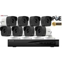 Sistem supraveghere video Hikvision 8 camere IP de exterior,2MP Full HD 1080P,IR 30m