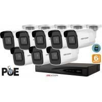 Sistem supraveghere video Hikvision 8 camere IP de exterior, 6MP(3K), SD-card, IR 30m