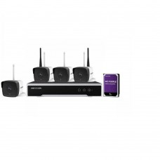Kit supraveghere video WiFi Hikvision  4 camere IP, FullHD  NK42W0-1T(WD)