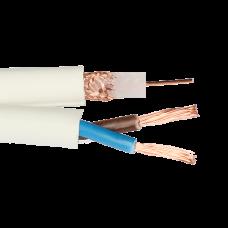 Cablu RG 59 coaxial cu alimentare 2x0.75, CUPRU 100%, LA METRU