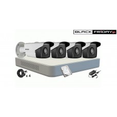 Kit Supraveghere HIKVISION 4 Camere HD 720P, IR 40m , HDD 500 GB