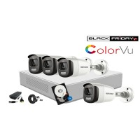 Kit supraveghere video Hikvision 4 camere ColorVU - filmeaza color pe timp de noapte, HDD 500GB inclus