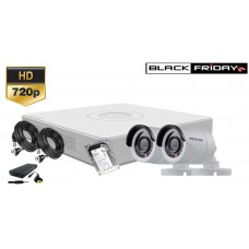 Kit supraveghere Hikvision 2 camere 720P, IR20, HDD 250GB