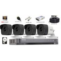 Kit complet supraveghere Hikvision 4 camere 5MP(2K+),IR 40m