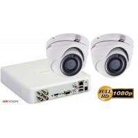 Sistem supraveghere video Hikvision 2 camere de interior Ultra Low Light  FullHD 2MP, IR 30M
