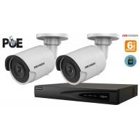 Sistem supraveghere video Hikvision 2 camere IP de exterior,6MP(3K),SD-card,IR 30m