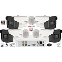 Kit complet supraveghere video Hikvision  4 camere Ultra Low-Light 5MP(2k+), IR 80M