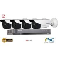 Sistem supraveghere video Hikvision 4 camere PoC Ultra Low-Light FullHD, IR 40M