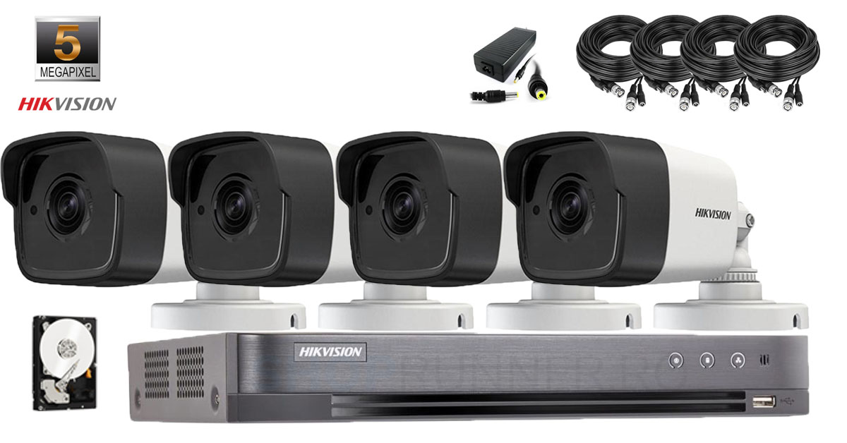Kit complet supraveghere video Hikvision 4 camere 5MP IR 40M