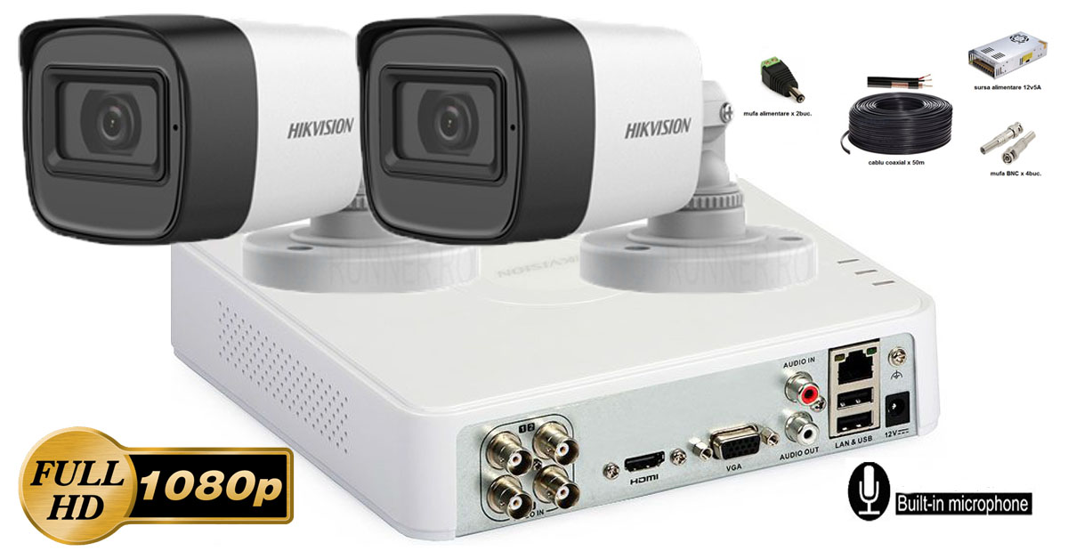 Kit complet supraveghere Hikvision 2 camere FullHD 1080p, IR30m, microfon incorporat