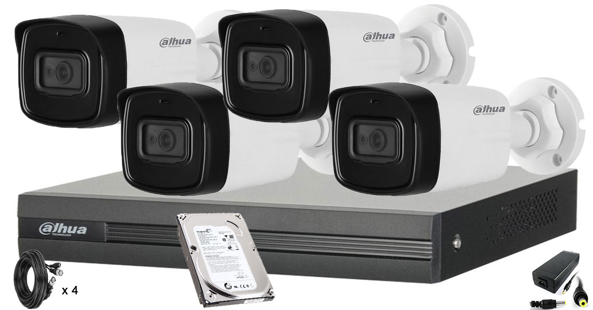 Kit supraveghere video DAHUA 4 camere FULL HD,Microfon Incorporat in camera, 1080P, IR 80m, HDD 500 GB